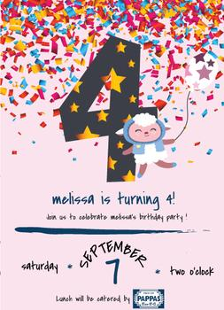 4th Birthday Party Invitation with a Sheep in a Purple Sweater