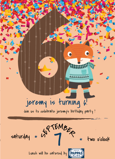 cards - 6th Birthday Party Announcement with Fun Dressed up Fox by Jason Shurb