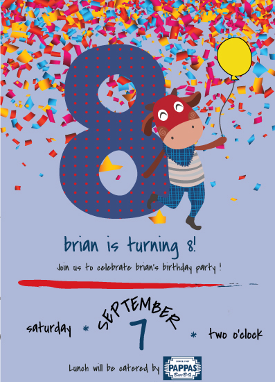 cards - 8th Birthday Party Invitations with a Fun Cow dressed denim pants and bandana with her boots. by Jason Shurb