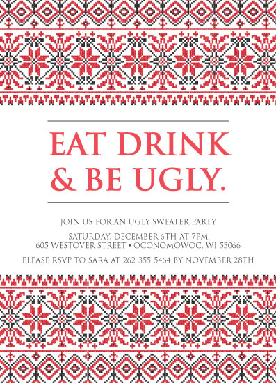 cards - Eat Drink & Be Ugly Digital Invitation by Liza Mulloy