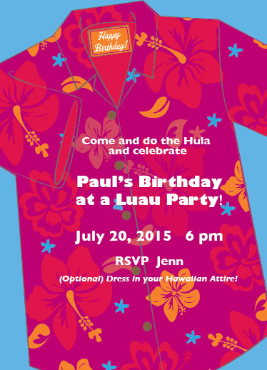 cards - Hawaiian Luau birthday party invite by Tina Cash