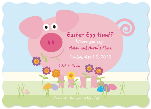 cards - Easter Piglet Egg Invite by Tina Cash