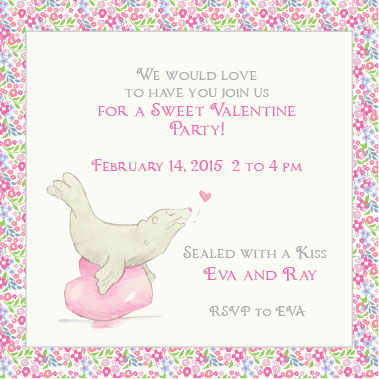 cards - Sealed Kiss Val Party Invite by Tina Cash