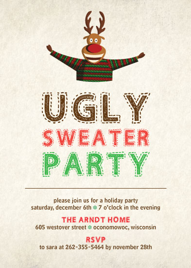 cards - Ugly Sweater Party Digital Invitation by Liza Mulloy