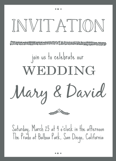 cards - grey and white wedding invitation by jody-claire