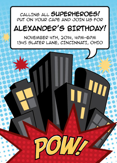 cards - Save Our City! Birthday Invitation by Lisa Langenhop