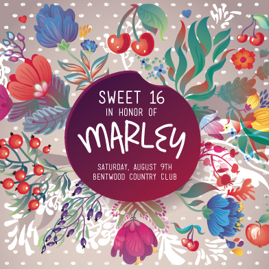cards - Floral Sweet 16 by Shelley Ruffing