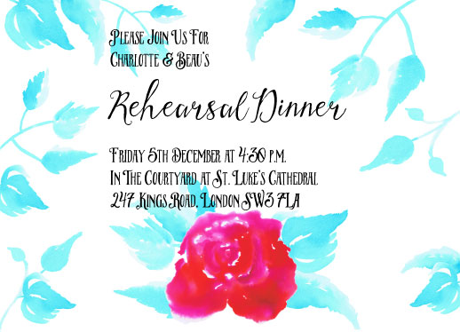cards - Red Rose Rehearsal Dinner by Anneline Sophia