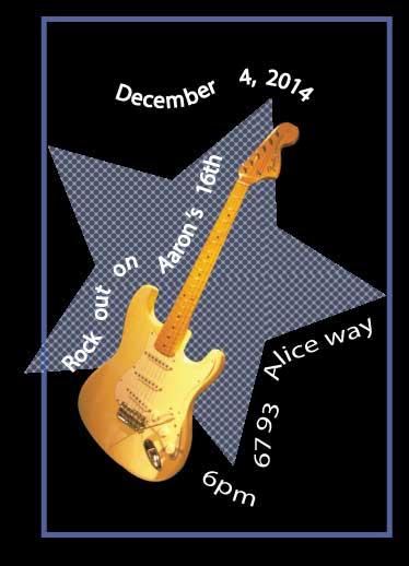 cards - 16th birthday guitar by Deborah Smith