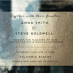 Gold and blue watercolor washed invitation