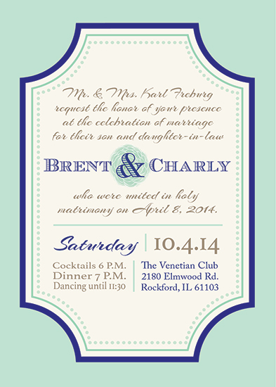 wedding invitations - Classic Mint & Navy by Jessica Gordon