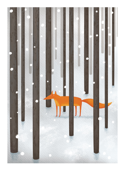 art prints - The Fox In The Snow by Katerina Pushkina