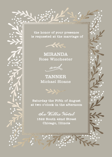 wedding invitations - Gilded Branches by Laura Hankins