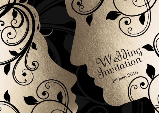 wedding invitations - Bride & Groom Silhouettes by Irina Drozd