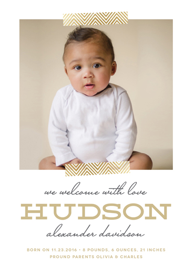 birth announcements - Golden Chevron by Erica Krystek