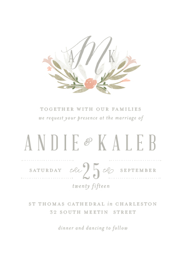 wedding invitations - Monogram Floral by Lori Wemple