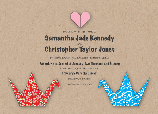 wedding invitations - Paper Cranes by Tarryn Lee