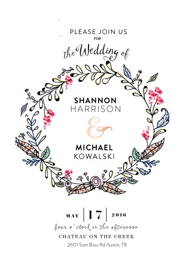 wedding invitations - Rustic Floral Wreath by youmewheee