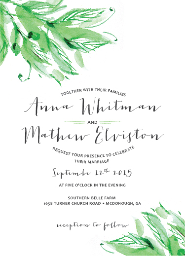 wedding invitations - Flowing Leaves by Darling Lemon