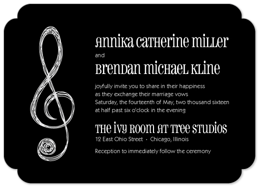 Wedding Invitations Treble Clef Music Themed By Melissa Casey