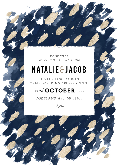 wedding invitations - Midnight and Gold by Papernoten