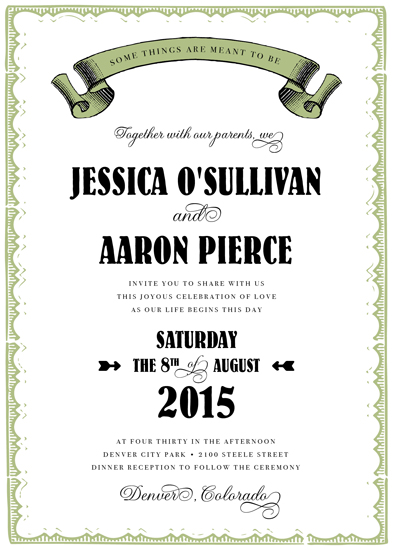 wedding invitations - Vintage Banner by Sarah Dickson