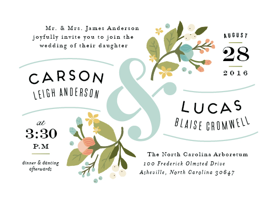 wedding invitations - Floral Ampersand by Jennifer Wick
