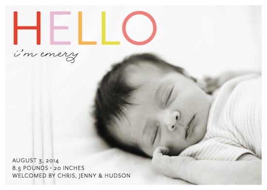 birth announcements - Bright Hello by Green Tie Studio