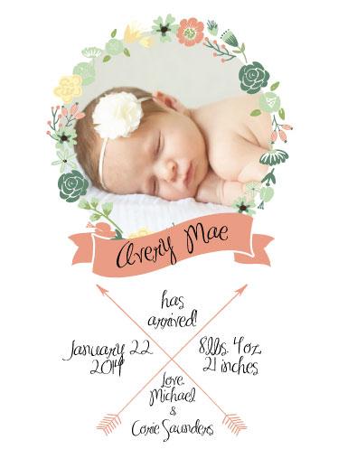 birth announcements bohemian floral wreath baby girl announcement