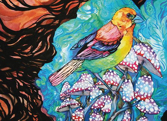 art prints - MushroomsandBird by Natasha Price