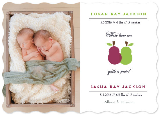 birth announcements - Quite a Pair! by Nazia Hyder