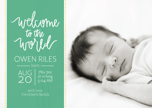 birth announcements - Hand Lettered Welcome by Green Tie Studio