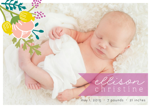 birth announcements - Vintage Floral Announcement by Green Tie Studio