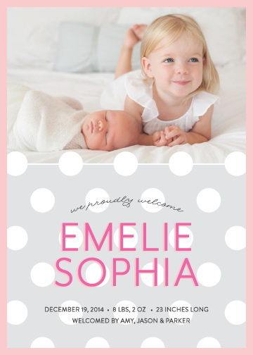 birth announcements - Polka Baby by Green Tie Studio