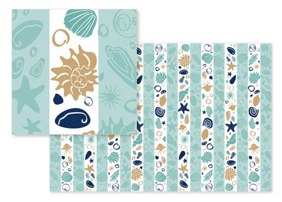 fabric - Ocean Strips by Olga Mendenhall