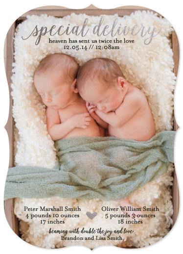 birth announcements - Heaven has sent us twice the love by Mandi Leavitt