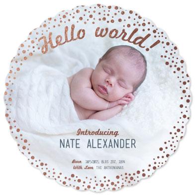 birth announcements - Hello World! Stardust Foil-Pressed by Jillian Pfund