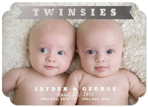 birth announcements - Modern Twinsies Foil-Pressed by Jillian Pfund