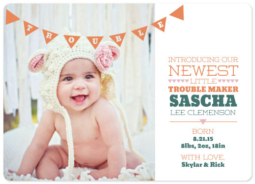birth announcements - Little Troublemaker with Banner by Jillian Pfund