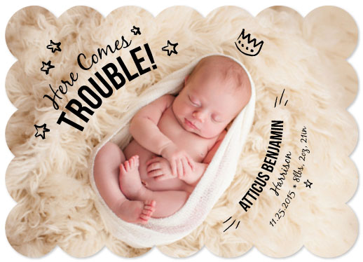 birth announcements - Crowned Here Comes Trouble! by Jillian Pfund