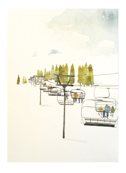 art prints - Ski Lift by Monica Loos