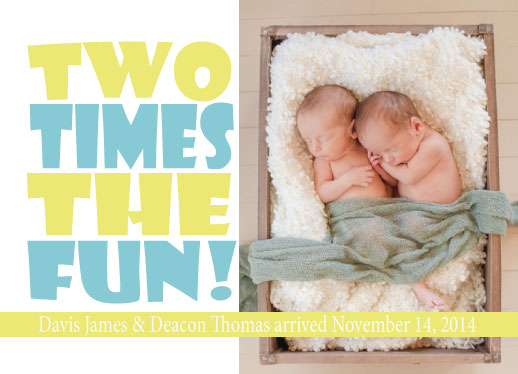 birth announcements - Two Times the Fun! by Melissa Jensen