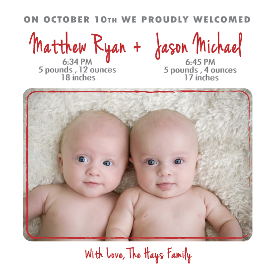birth announcements - Twin Love by Susan Teachey