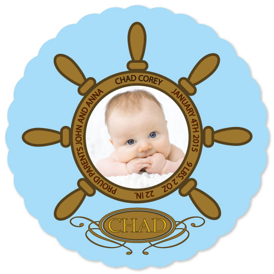birth announcements - Baby boy in Ship's Wheel by Richard Coble