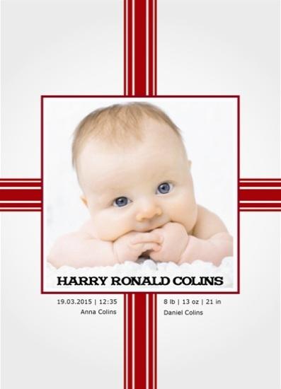 birth announcements - Red Ribbon by Onysia Kolesnikova