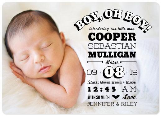 birth announcements - Boy, Oh Boy! Playful Type by Jillian Pfund