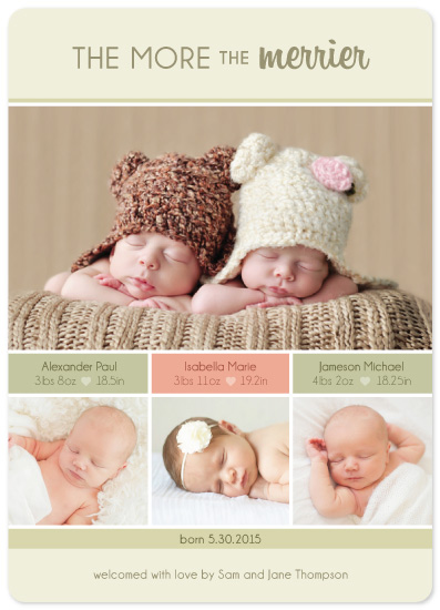 birth announcements - The More the Merrier Triplets by Mandy Porta