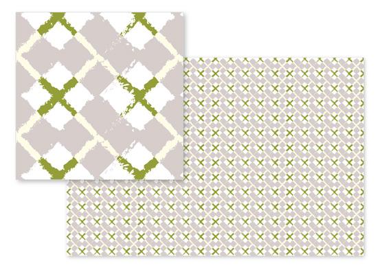 fabric - Silver Olive Argyle by Olga Mendenhall
