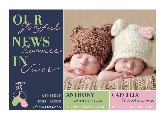 birth announcements - Joyful News in Twos by Neha Banati