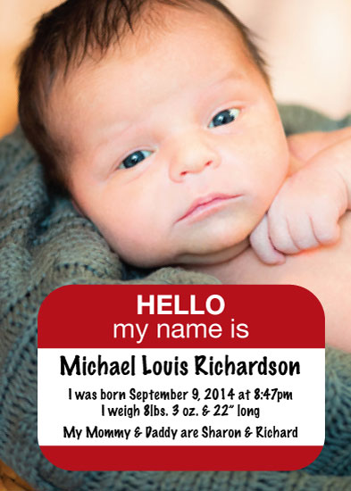 birth announcements - Hello my name is by Francesca Leipzig Picone